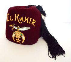 Luxury Fez Shriners Masonic Hat Jeweled Lou Walt El Kahir Cedar Rapids Iowa