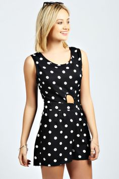 Issie Cut Out Front Polka Dot Playsuit at boohoo