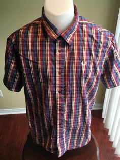 New to MajorDivision on Etsy: Vintage Extra Large Multi Color Fred Perry Short Sleeve Button Down (25.00 CAD)