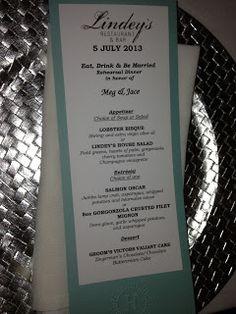rehearsal dinner menu cards