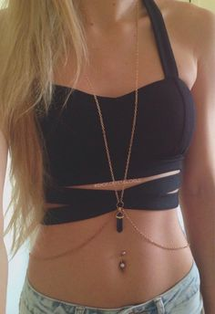 Gold body chain with your choice of crystal pendant