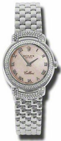 6671/9  ROLEX CELLINI CELLISSIMA LADIES LUXURY WATCH   Usually ships within 4 weeks - FREE Overnight Shipping- NO SALES TAX (Outside California) - WITH MANUFACTURER SERIAL NUMBERS- Pink Dial- 152 Diamonds Set on Bezel  - Battery Operated Quartz Movement- 3 Year Warranty- Guaranteed Authentic - Certificate of Authenticity- Polished 18K White Gold Case and Damier Bracelet - Scratch Resistant Sapphire Crystal- Manufacturer Box