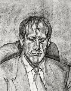 Lucian Freud - Head of an Irishman, 1999, etching...