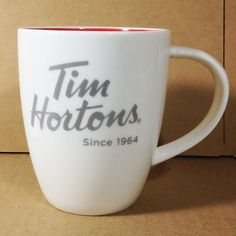 Tim Hortons Coffee Mug limited edition 014 white red inside #TimHortons