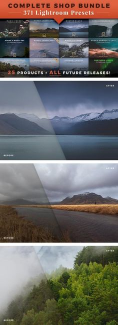Complete Shop Bundle: 371 Lightroom Presets + Future Product Releases for Landscape and Travel Photography.