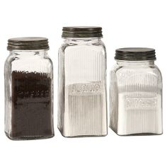 IMAX Home Dyer Glass Canisters - Set of 3 With a vintage flair, the Dyer glass canisters hold flour, sugar and coffee on any countertop or pantry shelf in style.Specifications:Height: Weight: lbsMaterial: GlassNumber of Pieces: 3 Canisters N/A Storage Canisters, Glass Canisters, Kitchen Canisters, Glass Jars, Kitchen Storage, Food Storage, Storage Containers, Mason Jars, Kitchen Organization