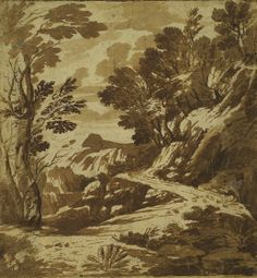 Gaspard Dughet French (Rome 1615 - 1675 Rome) Road Through a Wooded Landscape Drawing French, 17th century Brown ink, brown wash, traces of ...