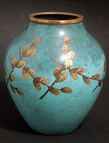 Art deco firepatinated IKORA Vase made in Germany by Wurttembergische Metallwarenfabrik, circa 1930's.