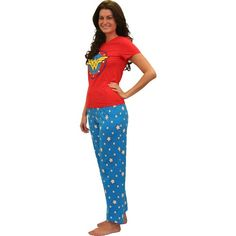 Wonder Woman Pajama Set for Women - Red short sleeve top with a large image of Wonder Woman's logo on the front and blue bottoms with white stars printed all over. 100% cotton, Machine Washable.