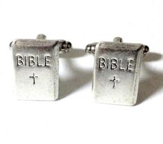 Silver Bible Cufflinks, Men's Handcrafted Christian Gospel Word Book Cuff Links- Groom Wedding Prom Gift for Man by Lynx2Cuffs on Etsy https://www.etsy.com/listing/253410117/silver-bible-cufflinks-mens-handcrafted