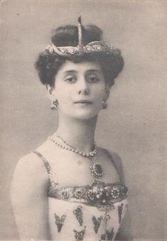 """Photographic postcard of Anna Pavlova as the Princess Aspicia in the Petipa/Pugni ballet, 'The Pharaoh's Daughter', Saint Petersburg, c. 1910. Pavlova performed her celebrated """"Glow Worm Dance"""" in 1915."""