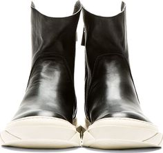 D.gnak By Kang.d: Buffed Leather Pointed Collar Boots