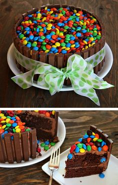 Chocolate cake - recipe and chocolates ideas for you - Essen & Rezepte - kuchen kindergeburtstag Easy Cakes To Make, How To Make Cake, Food Cakes, Cupcake Cakes, Candy Cakes, Mnm Cake, Kitkat Torte, Chocolate Bonbon, Cake Chocolate