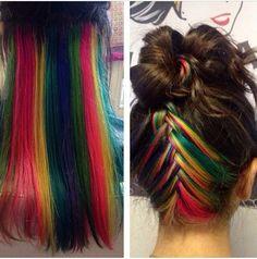Rainbow hair underneath