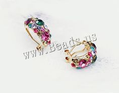 Crystal Earrings, Zinc Alloy, stainless steel earring post and Omega clip, Dome, gold color plated, with rhinestone, nickel, lead & cadmium free, 23x10mm, 5Pairs/Bag,china wholesale jewelry beads