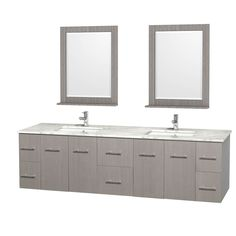 "Wyndham Collection Centra 80"" Double Bathroom Vanity for Undermount Sinks by Wyndham Collection - Gray Oak"