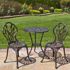 Outdoor Patio Bistro Set 3 pc Table Chairs Deck Garden Furniture Antique Style for sale online Garden Furniture Sets, Outdoor Furniture Sets, Outdoor Decor, Furniture Design, Furniture Ideas, Outdoor Living, Modern Furniture, Cheap Furniture, Copper Furniture