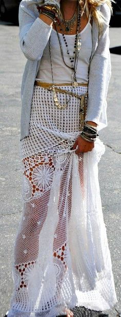 The perfect summer outfit-white maxi skirt and layered necklaces