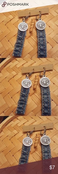 Blue Jeans strips steams w/Eye of Ra earrings Blue Jeans strips steams earrings with top Ancient Egyptian small Silver eye if Ra.   Surgical steel lever backs ear wires.  Hypoallergenic.   2 inches in length light weight. Jewelry Earrings