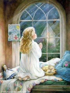 Teach Our Children To Pray ~ Paula Vaughan Angel Pictures, Art Pictures, Prayer Pictures, Sainte Rita, Little Cowboy, Gifs, Glitter Graphics, Animation, Gif Animé