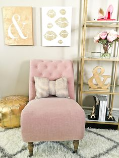 Home Tour: Eiffel tower book ends, gold ampersand, Gold marble shelves, Gold Moroccan pouf, DIY gold shelves hack, Roll Back Tufted Parson Chair, Shag Rug, Metallic Stripe Bow Decorative Pillow - double click the photo for exact details! //  http://www.stylishpetite.com/2016/01/home-tour.html