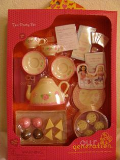 "7 Pc TEA PARTY~Mini Pretend Toy Play Food~For 15-18/""American Girl Dolls~Replicas"