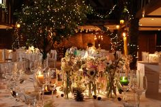 Whimsical Wonderland themed wedding - artificial tall oak tree with pealights; ivy, ruscus and pealights to beams and gallery; pinspots to table centres; twisted willow arrangements with pealights and limed chiavari chairs with ivory seat pads Wedding Designs, Wedding Styles, Great Fosters, Winter Parties, Woodland Wedding, Surrey, Wedding Table, Christmas Time, Wedding Events