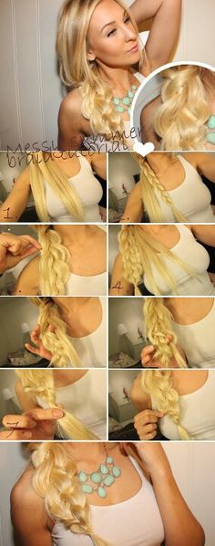Summer Hairstyles for Long Hair: Messy Side Braid Side Braid Hairstyles, Step By Step Hairstyles, Braided Hairstyles Tutorials, Summer Hairstyles, Diy Hairstyles, Pretty Hairstyles, Braid Tutorials, Updo Hairstyle, Hairdos
