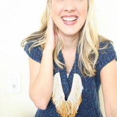 Make this statement necklace with fringe from your local craft store.