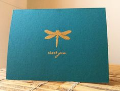 handmade thank you card ... CAS409 ,,. clean ans super simple ... one layer ... elegant in teal with heat embossed golden dragonfly and sentiment ...