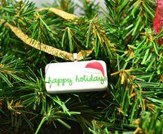Happy Holidays Domino Christmas Ornament on Etsy, $8.00