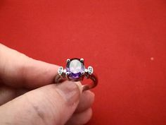 Vintage silver size 8 ring with beautiful purple and by jeanmc, $15.00