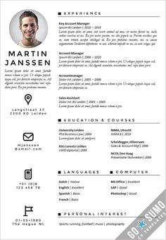Creative cv template with an professional appearance. Get your cv noticed! One page cv template (frontpage as… Creative Cv Template, Creative Resume, English Cv Template, Cv Design Template, Resume Template Free, Templates Free, Cv Tips, Resume Tips, Sample Resume