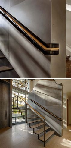 Stair Design Ideas - 9 Examples Of Built-In Handrails // This wood and steel handrail is built into a section of the wall for a more industrial look. Stair Design Idea – 9 Examples Of Built-In Handrails Daniel Hahn hahndanielmd Interior Design Stai Home Stairs Design, Railing Design, Interior Stairs, Interior Architecture, Stair Design, Modern Stairs Design, Steel Stairs Design, Steel Handrail, Escalier Design