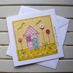 New Home Card - Handmade Original Textile - Machine Embroidered - Yellow House - Personalised Insert - Welcome to your cosy new home Fabric Cards, Fabric Postcards, Embroidery Cards, Free Motion Embroidery, Freehand Machine Embroidery, Free Machine Embroidery, Doodle, New Home Cards, Sewing Cards