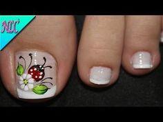 Pretty Toe Nails, Cute Toe Nails, Pretty Toes, Toe Nail Art, Love Nails, Gel Nails, Toe Nail Designs, Nail Polish Designs, Ladybug Nail Art