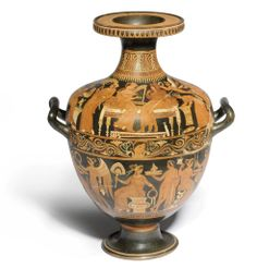 AN APULIAN RED-FIGURE HYDRIA, ATTRIBUTED POSSIBLY TO THE CIRCLE OF THE BALTIMORE PAINTER 4TH CENTURY B.C.