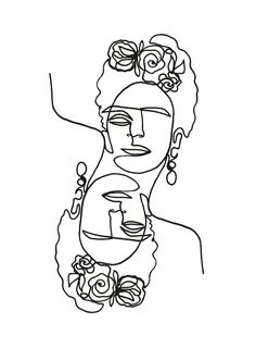 frida kahlo line artwork. continuous line drawing and tattoo idea Eyes Artwork, Line Artwork, Art And Illustration, Art Sur Toile, Outline Art, Art Original, Ink Painting, Abstract Paintings, Painting Tattoo