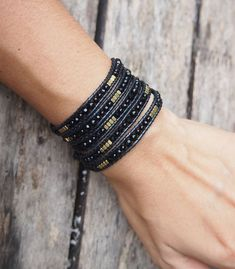 Black mix wrap bracelet, Boho bracelet, Beadwork bracelet by G2Fdesign on Etsy