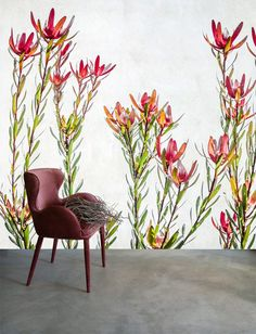Murals that capture the movement of Australian flora and fauna by Debbie O'Donnell. Scandinavian Wallpaper, Wallpaper Decor, Wall Decor, Wall Art, Painting & Drawing, Flora, Murals, Interior Design, Drawings