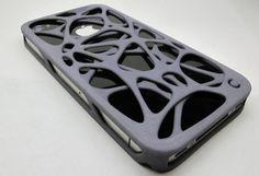 3D Printed iPhone Case by Shapeways:  This is a great looking case, but has anyone tested this design for degree of iphone protection? Has anyone seen a 3D Printer hybrid case combining silicone rubber and the 3D printing as the stiffener external protection? Concept of small volume production custom cases at reasonable pricing seems ideal for market. Yet search for reviews or testing: not much out there for anything 3D.
