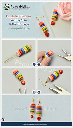 Cute Button Earrings - This earring is made of colored wooden buttons. Use eyepins to string the buttons together and install the earring hook, and the earrings will be completed. Diy Earrings Easy, Diy Earrings Studs, Button Earrings, Cute Earrings, Beaded Earrings, Jewelry Crafts, Handmade Jewelry, Handmade Accessories, Diy Embroidery Shirt