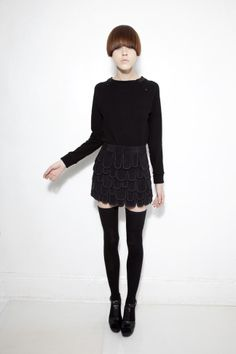 Rebecca Turbow- black top and peddle skirt