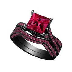 Check out Diamond Engagement Ring 925 Black Silver Ring 2.45 Ct Baby Pink Red Princess Diamond Bridal Set on solitairejewelry