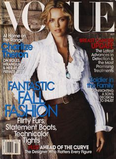Huge collection of vintage, old, collectible, rage magazines spanning over 100 years with thousands of titles. Featuring Charlize Theron, Mario Testino. Vogue Magazine Covers, Fashion Magazine Cover, Fashion Cover, Vogue Covers, Mod Fashion, High Fashion, Charlize Theron, Vogue Us, Vogue Korea