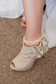 The wedding shoes, from forever new. My Grandmothers pearls.