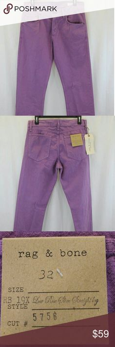 "WOMENS RAG & BONE VIOLET LOW RISE JEANS 32 NWT Measurements (we physically measured this item)  Waist:                                   	32"" Inseam:	34"" Length:	45"" Condition:		LOW RISE - SLIM FIT STRAIGHT LEG 100% COTTON  NEW WITH TAGS. SOURCED DIRECTLY FROM A MAJOR US RETAILER. rag & bone Jeans Skinny"
