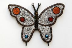 Butterfly -  Mosaic key rack via Etsy
