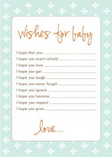 Wishes for Baby - free printable in grey/pink at link