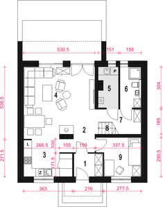 Rzut parteru projektu Dom Dla Ciebie 6 bez garażu [B] Floor Plans, Arquitetura, Floor Plan Drawing, House Floor Plans